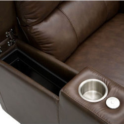 Billiard Factory Home Theater Seating - The Washington Home Theatre Seating will take your relaxation to a higher level with its plush comfort, back support, full power recline and footrest. This product comes with 4 hidden compartments in the arm rests to hide television accessories, game controllers, snacks or anything that is better hidden for the aesthetics of your home. The Washington Home Theatre Seating also comes with cup holders. This product is available in jet black and can arrive with a quick ship option and curbside delivery.