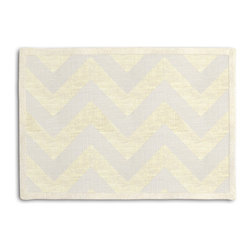 Gold Metallic & Ivory Chevron Tailored Placemat Set - Class up your table's act with a set of Tailored Placemats finished with a contemporary contrast border. So pretty you'll want to leave them out well beyond dinner time! We love it in this pale gold metallic chevron on white linen that adds subtle shimmer to any space.