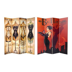 Oriental Furniture - 6 ft. Tall Double Sided Mannequin and Singer Canvas Room Divider 4 Panel - A stylish splash of color, curves and whimsical kitsch. A beautifully rendered reproduction of a bold, red and black art deco style cabaret poster on one side, and a fun, quirky, sepia toned 1930's Paris seamstress salon poster on the other, both printed onto a limited number of portable, durable, 4 panel canvas room dividers.