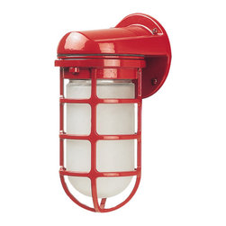 Barn Light Industrial Static Topless Sconce, Red - Add a little industrial and red at the same time with these barn-style sconces.