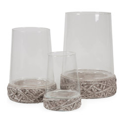 Hainsworth Open Top Glass Cloches - Set of 3 - Adding a modern twist to the cloche trend, this set of three open top glass cloches sit on cement bases accented with an organic texture. Great for creating living terrariums or using your favorite moss covered fillers, the possibilities are endless!