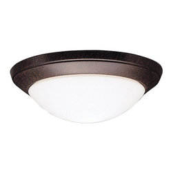 BUILDER - KICHLER 8881TZ Ceiling Space Transitional Flush Mount Ceiling Light - Neither flamboyant nor gaudy, the Hastings Collection looks to simple forms in order to match a broad array of styles and colors. The clean lines on Hastings fixtures flow into abundant curves almost seamlessly. This family features our exclusive Tannery Bronze finish to provide a classic, aged look. Because of its all purpose style, the Hastings Collection offers a wide arrangement of chandeliers, pendants, and wall sconces ensuring that no matter if it's for your ceilings or walls, there is something for every room in your home. With a clean and simple approach, this flush mount ceiling fixture matches any décor. Its one light design features a satin-etched cased opal twist-on glass.