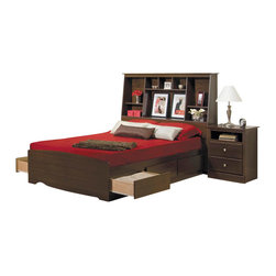 Prepac Furniture - Prepac Fremont 4 PC Queen Bedroom Set with Bookcase Headboard in Espresso (Bed, - Constructed from composite woods, plywood slats, metal supports, and high quality hardware, the Fremont 4 Pcs Queen Size Bedroom Set with Bookcase Headboard in Espresso (Bed, Two Nightstands and Dresser) - Prepac Furniture will bring simple elegance to any bedroom or living space! Six large drawers, positioned three on each side below the bed, are easy to access and accommodate clothing, or anything you need to store. Linens, blankets and magazines are just a few ideas.    Bedroom Set includes Queen Size Bed with Headboard, two Tall nightstands and Dresser.  Please choose Queen Size Bed in options.  Chest could be added to complete the set.