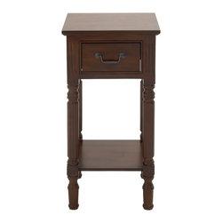 Brown Polished Fancy Wood Accent Table - Description: