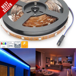 High Power RGB LED Flexible Light Strip - NFS-RGB150x - NFS-RGB150x series flexible LED light strip with high power 5050SMD RGB LEDs. 5 meter (197 in) with copper, black, or white finish. Non-weatherproof flexible light strips with adhesive backing, can be cut into 3-LED segments. No RGB controller on board, strips have separate RGB power inputs and common anode wire, Use any of our Universal RGB Controllers to dynamically control the strips - Due to voltage drop, after 10 meters run wire back to source. 12VDC operation.