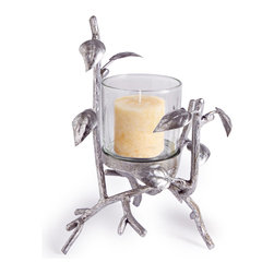 "Danya B. - 9.5"" Hurricane Silver Forest - Enchanting and elegantly crafted, this hurricane candleholder sits regally in a wrought iron branch and leaf design reminiscent of a magical forest of silver. The candle will make the silver leaf finish glimmer, creating a romantic ambience for your home."