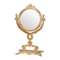 Renovators Supply - Mirrors Bright Cast Brass Vanity Mirror 12 1/4'' H - Mirror. This one-sided vanity mirror is traditional in design to suit any decor. Made of cast brass it comes with polished and lacquered protective finish. Overall it measures 12 1/4 in. H x 5 in. W.  The mirror is 5 in. dia. The base is 7 3/4 in. W x 3 1/2 in. proj. and has a protective felt bottom pads.