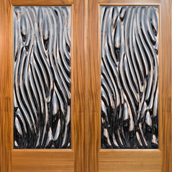 "Sculptural Glass Doors - ""Viento"" - Contemporary Double Door Entry - ""Viento"" – A Contemporary art glass door featuring an organic, flowing design, great as double front doors, also available as a single door. Made to order from Sculptural Glass Doors, featuring ClearCast™ Glass. Choice of glass colors and other options are available. Doors are shipped flat rate nationwide. Made in USA with integrity."