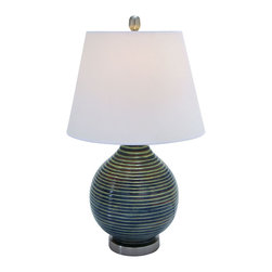Benzara - Stylish Ceramic Table Top Lamp With Ridges - One solid piece of sea foam green ceramic is used to create this stunning looking lamp. The ceramic base is curved and morphed into tear drop shape with subtle ridges that balance with the solid shade. Place one on just about any table top surface in your home, from your end table, to your desk in the home office.