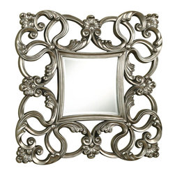 Coaster - Mirror, Pewter - A scrolled fleur design in a pewter finish will add an elegant touch to your home.