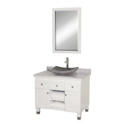 Wyndham - Premiere 36in. Bathroom Vanity Set - White - A bridge between traditional and modern design, and part of the Wyndham Collection Designer Series by Christopher Grubb, the Premiere Single Vanity is at home in almost every bathroom decor, blending the simple lines of modern design like vessel sinks and brushed chrome hardware with transitional elements like shaker doors, resulting in a timeless piece of bathroom furniture.