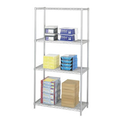 Safco - Industrial Wire Shelving Starter Unit in Metallic Gray - Three open wire shelves. Four posts. Snap-together clips. Prevents dust accumulation. Powder coated finish. Material Thickness: 10 ga. (shelf surface), 3 ga. (frame), 16 ga. (post), 6 ga. (wave pattern). Shelf adjusts in 1 in. increments. 1250 lbs. evenly distributed shelf carrying capacity. 2500 lbs. evenly distributed overall carrying capacity. GREENGUARD Certified. Made from steel. Available in additional finish. 36 in. W x 18 in. D x 72 in. H (48 lbs.). Assembly InstructionGet wired! With Wire Shelving you're sure to get the storage space you need. These shelves are designed to get your office organized and keep it that way. Easily store office supplies, break room supplies, paper, marketing materials and other supplies so they are easy to find and incur no damage. Great for your supply room, storage area, mail room, warehouse, storage closet, garage area or even a classroom, assembly area or production area. Get storage where you need it, and always be able to find what you're looking for!