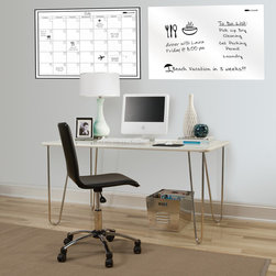 WallPops - Wall Pops 24x36-inch Whiteboard/ Calendar Set - The large Wall Pops dry-erase white board is the perfect ideal for to-do lists or messages. The  white calendar decal provides plenty of space for scheduling your month,with the convenience of dry-erase to easily keep track of changes.
