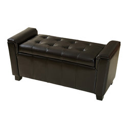 Great Deal Furniture - Bosworth Tufted Leather Armed Storage Ottoman Bench - The Bosworth storage ottoman provides both relaxing seating and can function as a coffee table. Upholstered in espresso brown bonded leather, the lid is well padded with tufted accent for and elegant touch.The Bosworth also provides ample storage space for loose items around the house.