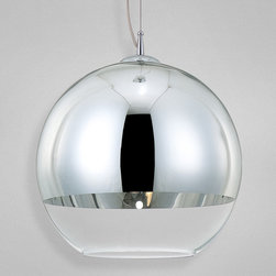 Eurofase - Chromos Pendant - Chromos Pendant is available in a chrome finish with a half chrome and half glass shade. Also available in 9-inch, 12-inch or 15-inch diameter versions. One 75-watt, 120 volt A19 medium base bulbs are required, but not included. Dimensions: 9-inch: 9.75W x 9.75H. 12-inch: 12W x 12H. 15-inch: 15.75W x 15.75H.  Overall height is 72 inches.