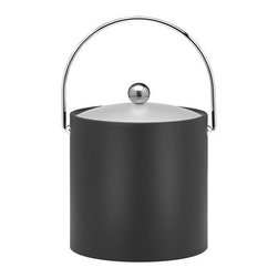 Kraftware - Ice Bucket in Black - Chromed bale handle and flat knob. Frosted vinyl lid. Made in USA. 9 in. Dia. x 9 in. H (3 lbs.)Our Fun Colors Collection features the hottest colors for the season, to provide you with great entertaining items, with up to the minute styling. Great for indoor and outdoor entertaining.
