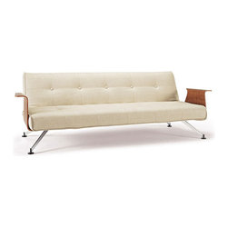 Inova Team -Modern Chromed Steel And Fabric Sofa - This swanky sofa features a unique and striking shape, chock full of retro charm. The best part? The back folds down to transform the piece into a bed. Now you don't have to sacrifice style when choosing a sofa that can double as a bed for overnight guests.