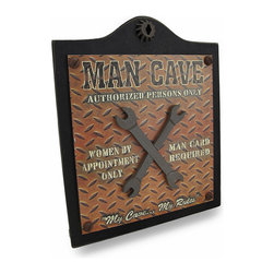 """Zeckos - """"Women By Appointment Only"""" Wooden Man Cave Sign 18 in. - This wall plaque features two raised wrenches and a cool diamond plate style background that reads 'Man Cave Authorized Persons Only' at the top, 'Women By Appointment Only, Man Card Required' on the sides with 'My Cave...My Rules' at the bottom. Made of wood, this plaque has a lightly weathered finish highlighted with bolts and a cog wheel, and measures 18 inches (46 cm) high, 15 inches (38 cm) wide and 1.25 inches (3 cm) deep, and easily hangs with just a single nail or hook using the attached hanger on the back. It's a great addition in any 'Man Cave', and makes a fun housewarming gift sure to be enjoyed"""