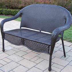 Oakland Living - Elite Resin Wicker Loveseat - Made of Durable Resin Wicker and Steel Frame Construction. Easy to follow assembly instructions and product care information. Stainless steel or brass assembly hardware. Fade, chip and crack resistant. 1 year limited. Coffee Color for years of beauty. Coffee finish. Some assembly required. 50 in. W x 27 in. L x 36 in. H (48 lbs.)Our all weather resin wicker sets are the perfect edition to any setting. Adds beauty, style and functionality to your home, garden or back yard patio. Ideal for indoors or out.