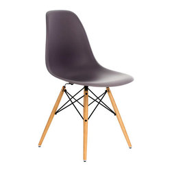 Ariel - Eames Style Molded Gray Plastic Dining Shell Chair W/ Wood Eiffel Legs - A truly comfortable chair, the shell dining chair sports a futuristic yet retro look at the same time. Constructed of heavy duty matte finish seats, this stylish chair is perfect for the home office, training room, or play area. Also available in multiple colors.