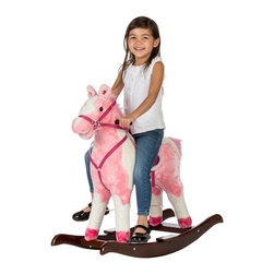 Rockin Rider - Rockin' Rider Rainbow Rocking Horse - 5-20350M - Shop for Rocking Toys from Hayneedle.com! Riding the open range in search of adventure will be double the fun with your child's trusty 'pardner' the Rockin' Rider Rainbow Rocking Horse. This rocker will be an even bigger hit with your little cowboy or cowgirl when they discover that their playful pal moves its mouth and swishes its tail as it sings the cheery I'm a Little Pony song and speaks two phrases along with realistic horse sounds. Plus this big plush two-tone horse is immensely cuddly and designed with a sturdy wood base for your child's safety. The full-body bridle and embroidery-accented saddle with metal stirrups complete the realistic look while engraved details in the base make this horse the right choice for any nursery. Recommended for children 3 years and up. Spot clean only with mild soap and water.About Tek Nek ToysTek Nek Toys believes in the power of playtime! From their home in Southlake Texas they've been developing unique multifunctional toys designed to stimulate creativity and encourage interaction since 1997. Tek Nek Toys arms parents with products that provide learning and growth opportunities in order to maximize their children's playtime. They understand that toys should not only be fun but also a way for children to expand their imaginations coordination and social skills. Tek Nek Toys is best known for developing innovative toys that are built to last even in the playroom.