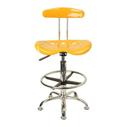 Flash Furniture - Flash Furniture Vibrant Drafting Stool with Tractor Seat in Yellow - Flash Furniture - Drafting Chairs - LF215YELLOWGG - Quality chair at an amazingly affordable price! This sleek modern stool conforms to several areas in the home or office. The molded tractor seat offers great comfort. The height adjustable capability of this stool allows you to use the stool at the dining table and bar table and anywhere in between. Enjoy decorating your home with a splash of color for a dramatic look. [LF-215-YELLOW-GG]