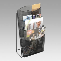 Onyx Mesh 4-Pocket Magazine Rack - Magazines are a mess no more with the Onyx Mesh 4-Pocket Magazine Rack. Constructed from sturdy steel mesh in a black finish this convenient magazine rack allows literature to be easily noticed and accessed. Four curved pockets keep publications upright while removable dividers allow for pamphlet storage. With its compact shape this unit is easy to move and takes up little space on counters tables and desks. For your home or business this versatile display rack is a smart way to keep magazines neat and tidy.About Safco ProductsSafco products were specifically developed to meet the changing needs of the business world offering real design without great expense. Each product is designed to fit the needs of individuals and the way they work by enhancing comfort and meeting the modern needs of organization in the workplace. These products encourage work-area efficiency and ultimately work-life efficiency: from schools and universities to hospitals and clinics from small offices and businesses to corporations and large institutions airports restaurants and malls. Safco continues to offer new colors new styles and new solutions according to market trends and the ever-changing needs of business life.