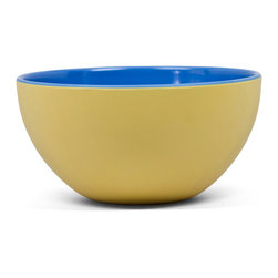 Q Squared NYC - Montecito Blue Yellow/Light Blue Cereal Bowl Set/6 - Transport your dining table to historical Montecito with the beautiful, vibrant colors of this collection, inspired by the intricate tiles and textures of the romantic city.