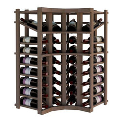 Wine Cellar Innovations - Curved Corner w/Display; Vintner: Prime Mahogany, Unstained - 3 Ft - This curved wine rack kit makes an excellent solution to attractively store your wine where a 90 degree directional transition is needed, or just to add creativity to the design of the wine room. Purchase two to stack on top of each other to maximize the height of your wine storage. Moldings and platforms sold separately. Assembly required.