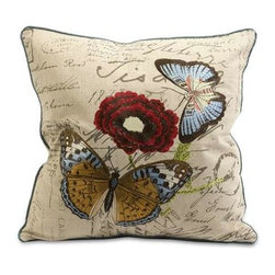 Julia Embroidered Butterfly Pillow - The Julia butterfly pillow is embroidered with vivid renditions of fanciful and feminine motifs on typographically imprinted linen fabric.