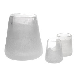 Esque - Rocks Ice Bucket + 2 Glasses - Your friends will all want ice, ice, baby with this striking artisan-made set on your bar or buffet. Made of handblown glass and formed to mimic carved ice, the 10-inch ice bucket comes with two 5-inch glasses so you can have your firewater on the rocks in cool style.