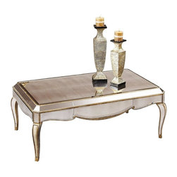 Bassett Mirror - Rectangular Cocktail Table in Antique Mirrore - Collete Collection. Made of Antique Mirror. No assembly required. 48 in. L x 28 in. W x 19 in. H (58 lbs.)