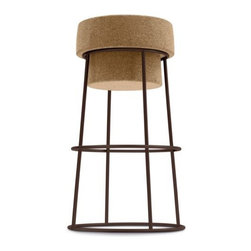 Domitalia - Bouchon Counter Stool by Domitalia - No celebration is complete without champagne, and now modern kitchens aren't either. The Domitalia Bouchon Counter Stool is modeled on a champagne cork in its metal wire cage. Here, the cork acts as the seat, while the wire cage is super-sturdy steel. This fanciful piece adds an element of modern whimsy to your kitchen's breakfast bar. Domitalia prides itself--and its line of contemporary furniture--on being 100% Italian. All Domitalia furniture is designed and made in Italy. In-house production of their indoor and outdoor furniture designs allows Domitalia to experiment with innovative materials and processes and keep a tight rein on quality control. The resulting pieces are modern, comfortable and sensual in form, suitable for a range of residential and contract settings.