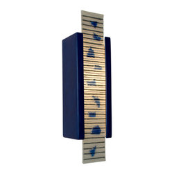 A19 - Zen Garden Wall Sconce Cobalt Blue and Multi Sapphire - Our Zen Garden sconce has a rectangular ceramic base which frames a glass pane of alternating horizontal stripes of color interspersed with beautifully raised pieces of fused colored glass. Light shines through openings at the top, the bottom and naturally illuminates the design of the glass. Handmade to A19's exacting standards, using a kiln-fired ceramic base and recycled window glass from local sources.