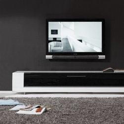 B-Modern - B-Modern Editor Remix TV Stand, White, W/ White Glove - The Editor Remix is designed with a perfect mix of function and form. The IR-friendly black glass door with soft-closing hardware design features an innovative new proprietary technology that allows you to hide your components while maintaining full use of your remote controls. A seamlessly integrated cabling system allows for easy connection of the most complex home theater systems. With a fully ventilated back panel, the Editor Remix has fine tuned the details for even the most advanced audiophiles. The smooth white high-gloss finish, low-profile exterior, stainless steel accents, and side storage spaces complete the look of this trend-setting, modern design. Invite the Editor Remix into your home today and enjoy the latest innovation in modern entertainment furniture.