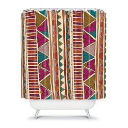 DENY Designs - DENY Designs Valentina Ramos Ethnic Stripes Shower Curtain - 13513-SHOCUR - Shop for Shower Curtains from Hayneedle.com! The DENY Designs Valentina Ramos Ethnic Stripes Shower Curtain has a sense of style that cannot be denied. Made from woven polyester this unique shower curtain has an exciting design with vivid colors to wow the eye. You can forget about all of those drab curtains this is just what you need.About DENY DesignsDenver Colorado based DENY Designs is a modern home furnishings company that believes in doing things differently. DENY encourages customers to make a personal statement with personal images or by selecting from the extensive gallery. The coolest part is that each purchase gives the super talented artists part of the proceeds. That allows DENY to support art communities all over the world while also spreading the creative love! Each DENY piece is custom created as it's ordered instead of being held in a warehouse. A dye printing process is used to ensure colorfastness and durability that make these true heirloom pieces. From custom furniture pieces to textiles everything made is unique and distinctively DENY.