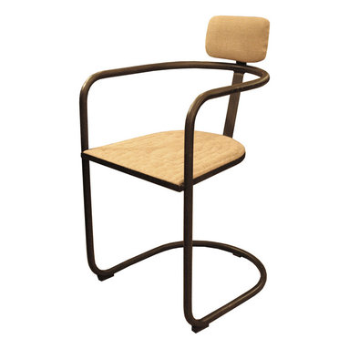 Kathy Kuo Home - Gorky Industrial Loft Deco Syle Tubular Steel Arm Chair - Invite a modernist melange into your decor. This dynamic chair, fashioned of tubular steel and burlap, fuses its assorted influences into one striking statement of architectural cool.