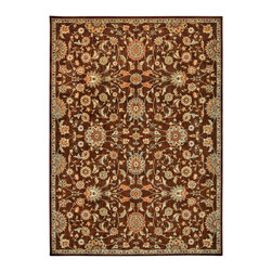 """Kathy Ireland - Kathy Ireland KI12 Babylon BAB05 9'3"""" x 12'9"""" Brown Area Rug 24192 - A traditional bordered floral, leaf and medallion design is filled with history and an intriguing hint of mystery when displayed in majestic shades of glimmering gold, chocolate brown, crimson, peach, sky, celery and white. With its spellbinding texture and tone, this riveting rug will infuse any area with splendor and excitement."""