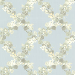 Brewster Home Fashions - Delphia Blue Jasmine Trellis Wallpaper. - Crisscrossing blooming vines flourish on a sky blue backdrop atop this beautiful trellis printed wall covering. Shades of pale yellow and light green bring tranquility to any space within your home.