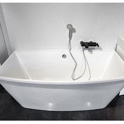 "Aquatica - Aquatica Alex Freestanding EcoMarmor Stone Bathtub - White - Alex(TM) Freestanding Bathtub by Aquatica - Step into style - With its eye-catching, angular features, the Alex freestanding bathtub is the latest in contemporary design. Available in a range of colours, the smaller size of this tub makes it ideal for modern apartment living. Made of the finest cast stone materials, this tub is guaranteed to provide you with long, indulgent soaks for years to come.Aquatica's bathtubs offer modern glamour at affordable prices. The Aquatica line is diverse enough to encompass both bathtubs with classical elegance that match the style of your bath and bathtub models that are distinctive and unique as the centerpiece of your remodel.FeaturesStriking upscale modern designFreestanding constructionSolid, one-piece construction for safety and durabilityExtra deep, full-body soakErgonomic design forms to the body's shape for ultimate comfortQuick and easy installationEcoMarmor(TM) material provides for unparalleled heat retention and durabilityHypoallergenic surfaceColor will not fade or lose its brilliance overtimePreinstalled cable drive pop up and waste-overflow fitting includedDesigned for one or two person bathingNon-porous semi-glossy surface for easy cleaning and sanitizingAdjustable height legs100% recyclable and fire-resistantChrome plated drain5 Year Limited WarrantyCode compliant with American standard 1.5"" waste outletsSpecifications:Overall Dimensions: 67 in. L X 35.25 in. W X 25.25 in. HDepth to Overflow Drain: 17.75 in.Interior Depth: 20.5 in.Interior Length (Top): 64.5 in.Interior Width (Top): 29.75 in.Interior Length (Bottom): 52.75 in.Interior Width (Bottom): 23.25 in.Weight: 294 lbsCapacity: 99 GallonsShape: RectangleDrain Placement: Reversible Spec Sheet Freestanding Bathtub Note: This model usually ships in 4-6 weeks. Please allow an additional 2-3 business days for order transmittal and verification."