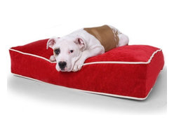 OneUp Innovations, Inc - Jaxx Rectangle Dog Bed, Microsuede Cinnabar - Finally, match your doggie's bed to the rest of your decor! The Jaxx dog beds are offered in the same luxurious fabrics as all other Jaxx products and have the same cushion filled eco-friendly shredded foam. This bed is perfect for those pets who love to sprawl across a spacious spot and stay cuddly and warm. The plush cover removes easily and is machine washable - underneath a moisture proof liner to protect all surfaces.