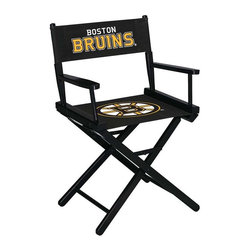 Imperial International - Boston Bruins NHL Directors Chair - Take a look at this great Table-Height Director's Chair. It has black stained hardwood, paddle arms, and a straight line leg rack. It's custom manufactured for you in the heart of Tennessee. It's perfect for your Man Cave, Game Room, Garage or Basement. Logos are screen printed on the back and seats of a high quality 16oz duck cloth canvas. Suitable for indoors and outdoors.