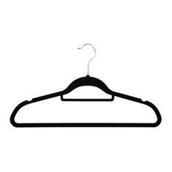 Richards Homewares - Softgrip Blacksuit Hanger Box, Set of 50 - The skinny black hanger. The soft velvet surface on our space-saving slim hangers keeps your clothing secure and in place at all times. Provides accessory bar for storing belt, ties, scarves and tomorrow's accessories. Perfect for travel too.