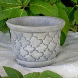 Small Round Cast Stone Cloud Planter - With its simple cloud pattern the Small Cloud Planter is a unique tranquil addition to any home garden or patio. Its oval shape fits a variety of small plants and its resilient concrete construction is ideal for outdoor use in warmer months. Available in a variety of finishes to match any decor it measures 8L x 8W x 6H inches.About Fiber-Reinforced ConcreteFiber-reinforced concrete is simply concrete that has been blended with fibrous material which increases its structural integrity and durability. The fibers used are typically steel or glass and they are distributed evenly throughout the concrete mix to help hold it together and reinforce the construction. Fiber-reinforced concrete is resistant to shrinkage and cracking that can be caused by temperature changes or inclement weather.About The Brookfield CompanyMakers of fine large-scale planters and containers The Brookfield Company was founded in 1985 by owners Hilda Gilkeson Jones and John Cline. Together John and Hilda sculpt the original designs that Brookfield still produces today creating a line of unique exceptional products that bring style to any garden. They operate under the philosophy that planters should enhance surrounding areas and make your fine plants and flowers the center of attention; Brookfield's crisp sophisticated designs reflect that idea. Brookfield planters are cast from fiber-reinforced concrete which is highly resistant to weather and breakage. They're designed for use outdoors in almost any climate or location.