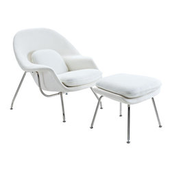 "Modway - W Lounge Chair in White - Concerted efforts run deep with this finely upholstered wool Lounge Chair and Ottoman Set. Immerse yourself in the compassionate and sprawling form while supported by a sleek stainless steel base. Scales of equilibrium are reached in good measure as you inaugurate elegance into your contemporary abode. Includes: One - Matching Ottoman; One - W Lounge Chair; Stainless Steel Base; Upholstered Wool; Molded, Reinforced Fiberglass Shell; Chair: 38""L x 38.5""W x 35""H; Ottoman: 22""L x 25""W x 18""H; Seat Height: 16.5 - 17""H; Armrest Height: 22""H"