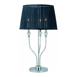 Lite Source - Chrome 3 Light Table Lamp with Black Organza Shade from the Marrim Collection - Product Weight: 12.2 lbs