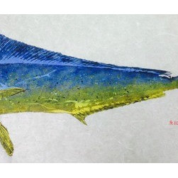 Maui Mahi (Original) by Brian Heustis - Gyotaku is the Japanese art of fish printing.  Fish printing is hundreds of years old but not widely known.  An actual fish is used to make the impression on the rice paper.  After the initial impression is made, I then blend all the colors to match exactly what Mother Nature created.  As a fisherman myself, my goal in fish printing is to capture the essence or soul of each fish.  This fish was caught in Maui, Hi.  I printed this particular fish because of it amazing colors.  Mahalo Brian