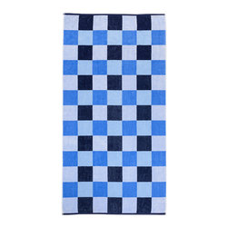 Superior - Superior Collection Luxurious Jacquard Cotton Beach Towel - Checkered - Relax and dry off in style with these velour terry cloth beach towels from Superior. This fun design features a fun checkered design with a medley of blues.