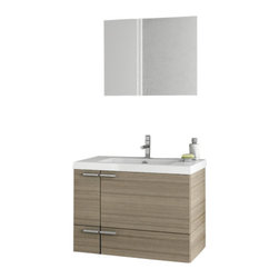 ACF - 31 Inch Larch Canapa Bathroom Vanity Set - Set Includes: Vanity Cabinet (2 Doors,1 Drawer), high-end fitted ceramic sink, wall mounted vanity mirror.