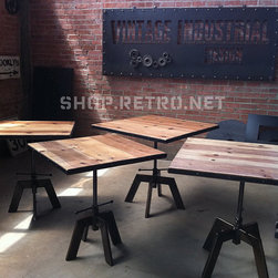 """French Industrial Adjustable Cafe / Dining Table - This versatile table adjusts from 20"""" to 30"""" in height making it ideal to use as a cafe table, dining table, accent table, or a night stand. To adjust the height the top spins (clockwise to go up, counter-clockwise to go down) and has a lock to keep it in place. The design has an early 1900s European factory feel to it. The base is all steel with a vintage patina and the top is aged sugar pine with a metal trim band surrounding. This is an original design by our company Vintage Industrial LLC."""" (Photo Taken From eBay Listing"""